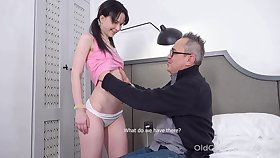 Strange pigtailed brunette Favoured Plu is fucked by older man doggy