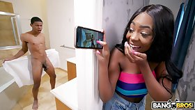 19 yo stepsister catches the brush stepbro acting fool unveil in the bathroom