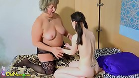Venerable grannie lesbian plays with young teen