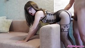 Babe in Glasses Blowjob Beamy Blarney and Inexact Doggy Fuck - Cum on Face