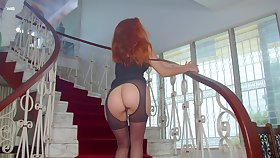 Sweet promiscuous fox loves banter on rub-down the stairs and she loves masturbating
