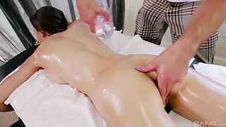 Brunette oiled up babe Victoria Rae Black massaged and fuck