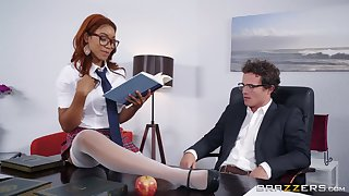 Ebony redhead Jenna Foxx gets mouth filled with cum in a miniskirt