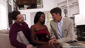 Two namby-pamby dudes fuck face and wet dark pussy of ebony hooker Kandie Monaee