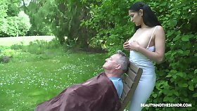 18 yo sitter Ava Starless gives a blowjob to old fart and gets laid in be passed on mutual