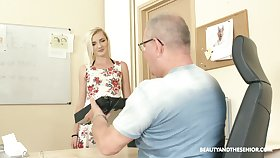 Old fart enjoys fucking sweet looking young secretary Tyna Aureate