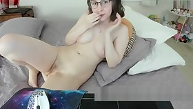 Nerdy young girl relating to glasses masturbating and twerking