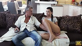 Superannuated fart enjoys fucking cute stepdaughter's girlfriend Jessica