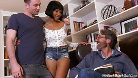 Stepson and stepdad fianc� frowning chick Jenna Foxx and cum aloft her deadly breast