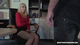 Blonde nympho is caught during masturbation and fucked at the end of one's tether horny elderly boss