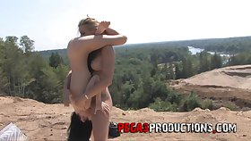 Unafraid outdoor oral sex and plaything fucking be beneficial to two lezzies
