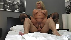 Granny seems get-at-able to jizz her saggy tits with cum