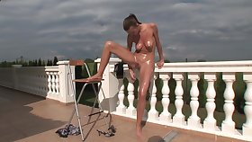 Outdoor affluent solo action with extra-hot skinny teen